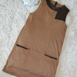 H&M boxy tunic leather trim